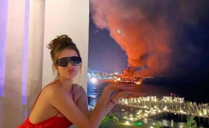 Alanya'da tekneler yanarken bu pozu veren kadın aranıyor