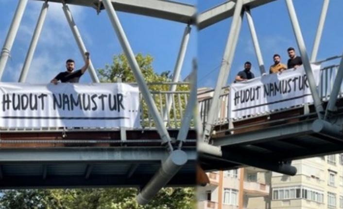 Alanya'da üst geçitlere 'Hudut Namustur' pankartı