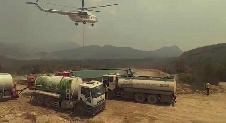 Antalya'da yangın havuzlarında helikopter trafiği