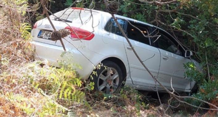 Alanya'da otomobil ormanlık alana uçtu