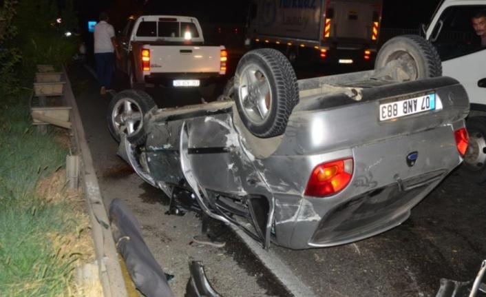 Kontrolden çıkan araç takla attı: 3 yaralı var