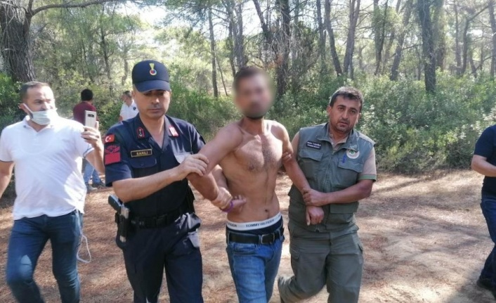 Ormanı yakarken suçüstü yakalanan şüpheli adam yaralama ve uyuşturucudan sabıkalı çıktı