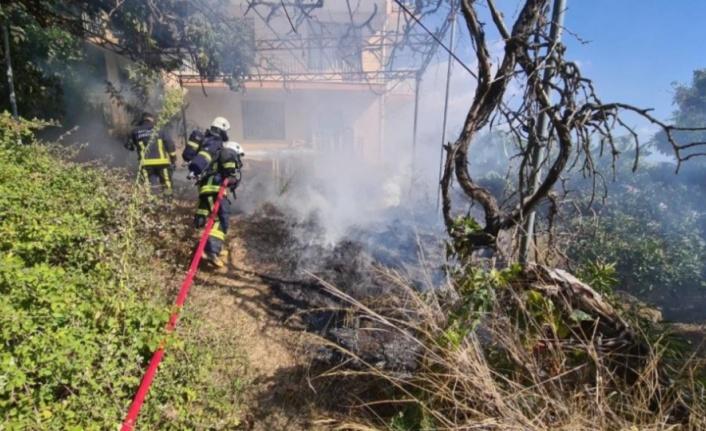 Alanya'da korkutan bahçe yangını
