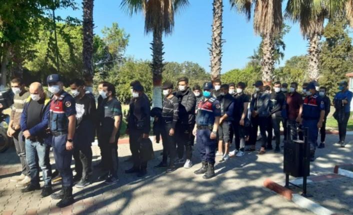 Deniz kıyısındaki sazlık alana saklanan 28 göçmen yakalandı