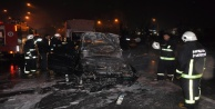 Zincirleme kazada bir araç alev topuna döndü