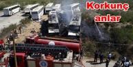 4 otobüs birden alev alev yandı