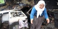 Çıkan yangında her şeyini kaybeden acılı kadın gözyaşı döktü