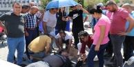 Kaza yapan motosikletlinin imdadına nöbetten dönen 112 personeli yetişti