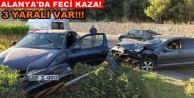 Alanya#039;da 2 otomobil çarpıştı: 1i çocuk 3 yaralı