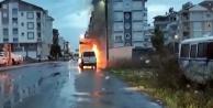 Park halindeki araçta çıkan yangın korkuttu