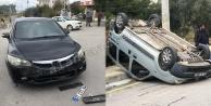 Alanya feci kaza: Araçlardan biri ters döndü, 1 yaralı