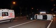 Otomobil takla attı facianın eşiğinden dönüldü!