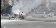 Alanya#039;da hareket halindeki araçta yangın
