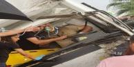 Aanya#039;da sıkıştığı araç içinde kurtarılmayı bekledi