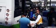 Alanya#039;da halk otobüs şoförü rahatsızlanan yolcusunu hastaneye böyle yetiştirdi