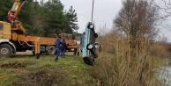 Naras Çayı#039;na uçan otomobil dalgıçlar tarafından bulundu