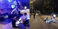 Alanyada yola savrulan motosiklet sürücüsü yaralandı