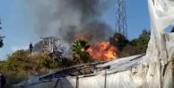 Alanya#039;da çalılık alanda korkutan yangın