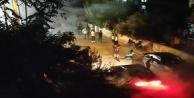 Asker uğurlamasına tepki gösterenlere öfkelenip ortalığı tozu dumana kattılar