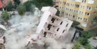 Alanya#039;da yürekleri ağza getiren apartmanın yıkımı!
