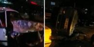 Alanya#039;da 4 araca çarpıp takla attı; 3 yaralı var