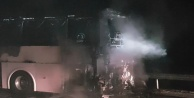 45 yolcusu bulunan otobüs yandı