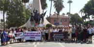 Alanya'da kadınlar 'kadına şiddet'e tepki için bir arada