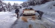 Alanya Kırsalı'ndaki yollarda buzlanmaya dikkat