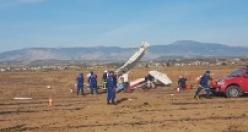 Komşuda düşen uçağın enkaz resimleri