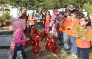 Öğrenciler Şehit Ağaroğlu'nun mezarını ziyaret...