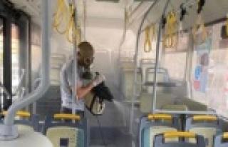 Alanya'da tüm otobüsler dezenfekte edildi