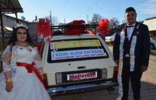 Dirftli evlilik teklifine gelen ceza, gelin arabasını...