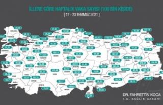 Antalya'da 100 bin kişide görülen vaka sayısı...