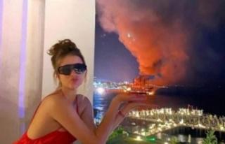 Alanya'da tekneler yanarken bu pozu veren kadın...