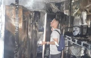 Otel lojmanında korkutan yangın