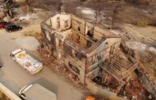 Yangında yok olan Kalemler Mahallesi, havadan görüntülendi