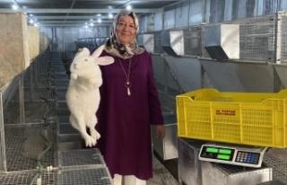 Emekli kadın polis hobi olarak başladığı tavşan...