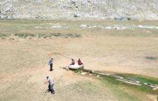 Yaylada drone gören çoban sopa ile drone kovaladı