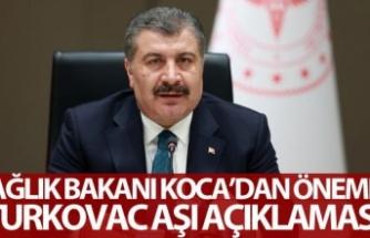 Sağlık Bakanı Koca: '(TURKOVAC aşısı Faz-3) Plasebo yerine kıyaslamalı olarak Sinovac'la birlikte yapılıyor olacak'