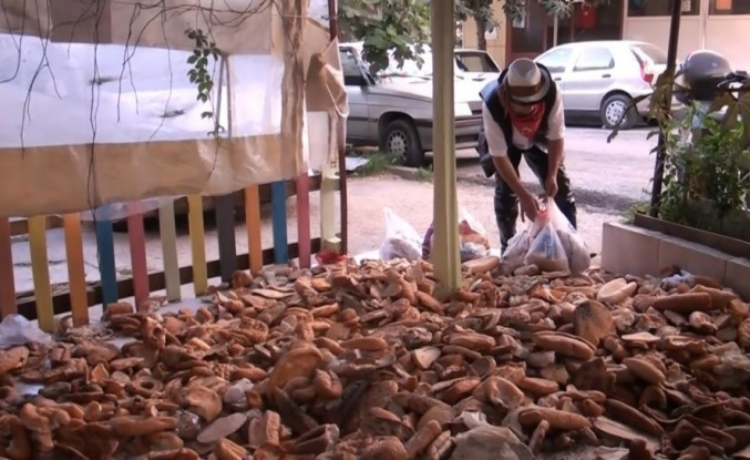 Alanya'da israfa dikkat çekmek için 30 çuval ekmek toplayıp film çektiler