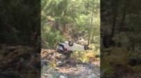 Alanya'da şok kaza! Araç uçurumdan uçtu, takla attı